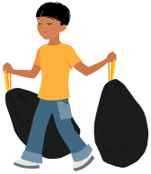 boy and bags